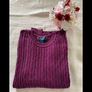 Karen Scott Pullover Cable Knit Sweater.